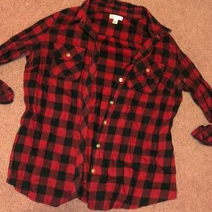 Tops - Red and black flannel